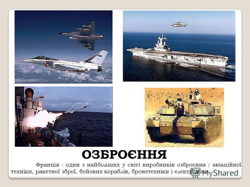 ОЗБРОЄННЯ Франція - один з найбільших у світі виробників озброєння : авіаційної техніки, ракетної зброї, бойових кораблів, бронетехніки і електроніки.