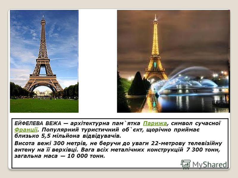 ЕЙФЕЛЕВА ВЕЖА архітектурна пам`ятка Парижа, символ сучасної Франції. Популярний туристичний об`єкт, щорічно приймає близько 5,5 мільйона відвідувачів.Парижа Франції Висота вежі 300 метрів, не беручи до уваги 22-метрову телевізійну антену на її верхів