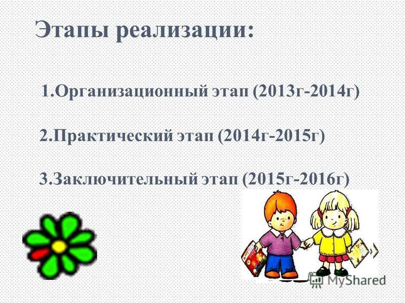 Этапы реализации: 1. Организационный этап (2013 г-2014 г) 2. Практический этап (2014 г-2015 г) 3. Заключительный этап (2015 г-2016 г)
