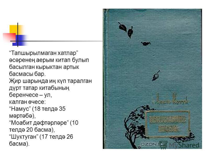 Тапшырылмаган хатлар әсәренең аерым китап булып басылган кырыктан артык басмасы бар. Җир шарында иң күп таралган дүрт татар китабының беренчесе – ул, калган өчесе: Намус (18 телдә 35 мәртәбә), Моабит дәфтәрләре (10 телдә 20 басма), Шуктуган (17 телдә