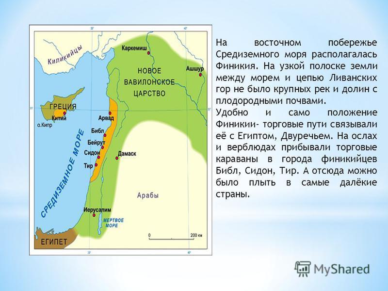 На восточном побережье Средиземного моря располагалась Финикия. На узкой полоске земли между морем и цепью Ливанских гор не было крупных рек и долин с плодородными почвами. Удобно и само положение Финикии- торговые пути связывали её с Египтом, Двуреч