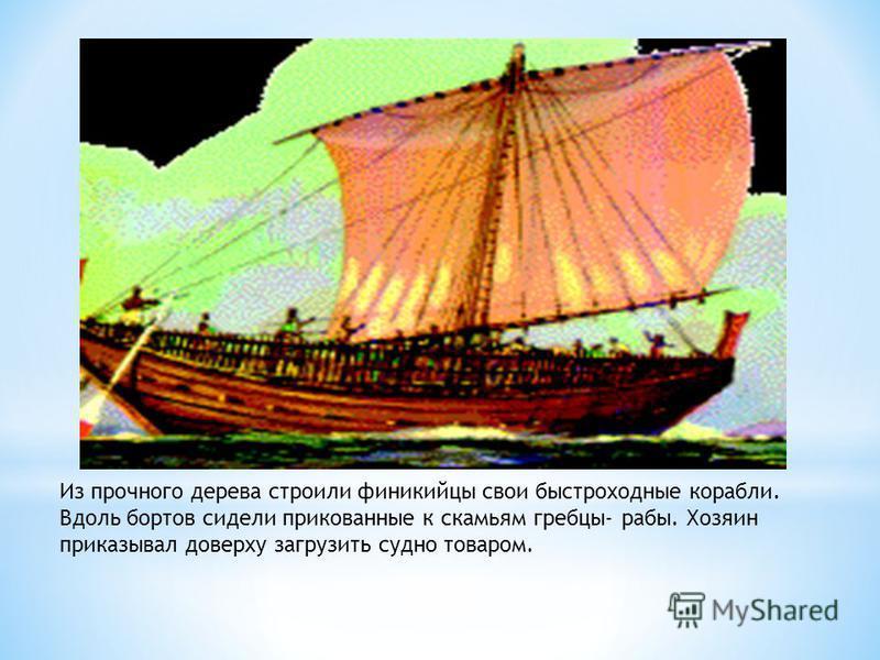 Из прочного дерева строили финикийцы свои быстроходные корабли. Вдоль бортов сидели прикованные к скамьям гребцы- рабы. Хозяин приказывал доверху загрузить судно товаром.