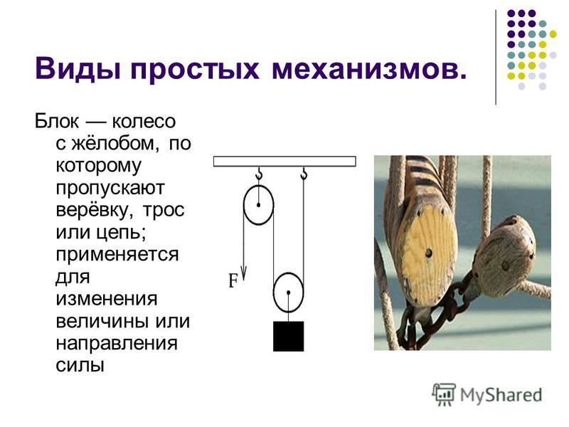 Виды простых механизмов. Блок колесо с жёлобом, по которому пропускают верёвку, трос или цепь; применяется для изменения величины или направления силы