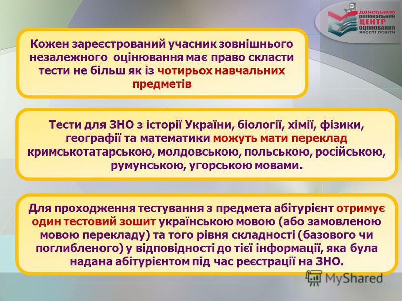 Кожен зареєстрований учасник зовнішнього незалежного оцінювання має право скласти тести не більш як із чотирьох навчальних предметів Тести для ЗНО з історії України, біології, хімії, фізики, географії та математики можуть мати переклад кримськотатарс