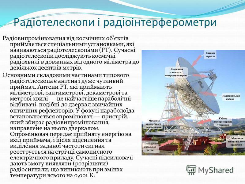 Радіотелескопи і радіоінтерферометри Радіовипромінювання від космічних об'єктів приймається спеціальними установками, які називаються радіотелескопами (РТ). Сучасні радіотелескопи досліджують космічні радіохвилі в довжинах від одного міліметра до дек