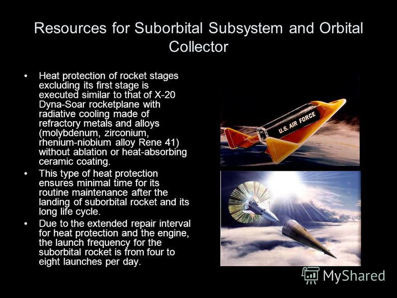 Resources for Suborbital Subsystem and Orbital Collector Heat protection of rocket stages excluding its first stage is executed similar to that of X-20 Dyna-Soar rocketplane with radiative cooling made of refractory metals and alloys (molybdenum, zir