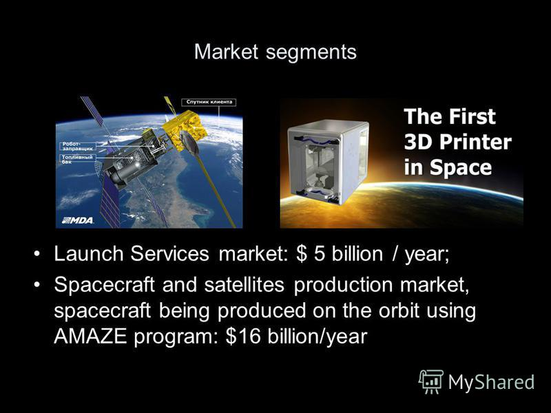 Market segments Launch Services market: $ 5 billion / year; Spacecraft and satellites production market, spacecraft being produced on the orbit using AMAZE program: $16 billion/year