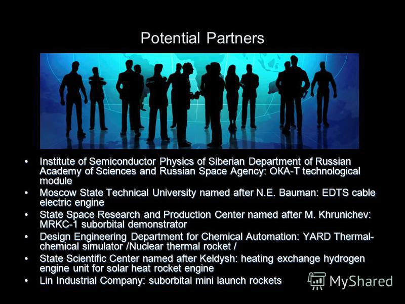 Potential Partners Institute of Semiconductor Physics of Siberian Department of Russian Academy of Sciences and Russian Space Agency: ОКА-Т technological moduleInstitute of Semiconductor Physics of Siberian Department of Russian Academy of Sciences a
