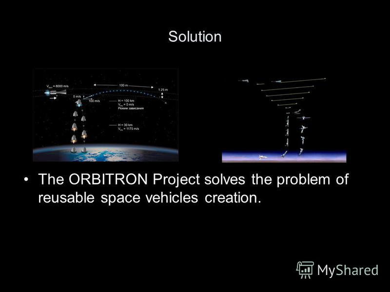 Solution The ORBITRON Project solves the problem of reusable space vehicles creation.