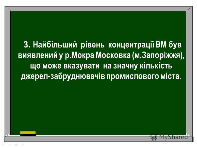 3. Найбільший рівень концентрації ВМ був виявлений у р.Мокра Московка (м.Запоріжжя), що може вказувати на значну кількість джерел-забруднювачів промислового міста.