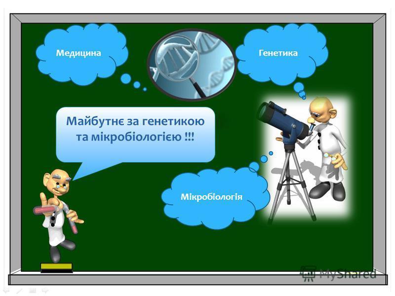 Майбутнє за генетикою та мікробіологією !!! Мікробіологія ГенетикаМедицина