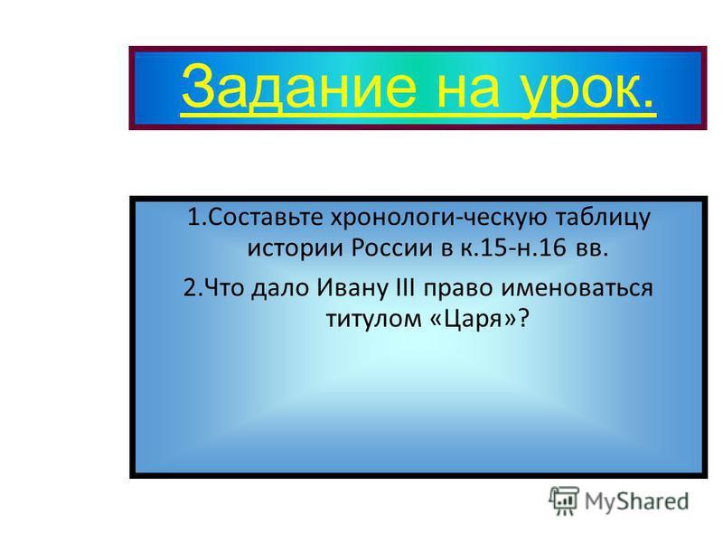 Задание на урок. 1. Составьте хронологи-ческую таблицу истории России в к.15-н.16 вв. 2. Что дало Ивану III право именоваться титулом «Царя»?