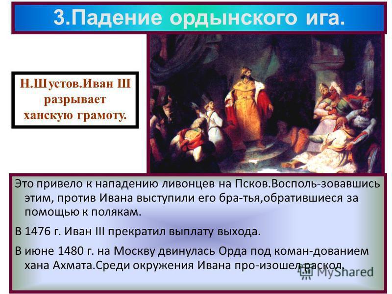 3. Падение ордынского ига. Это привело к нападению ливонцев на Псков.Восполь-зовавшись этим, против Ивана выступили его бра-тья,обратившиеся за помощью к полякам. В 1476 г. Иван III прекратил выплату выхода. В июне 1480 г. на Москву двинулась Орда по