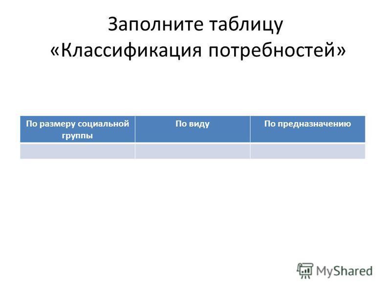 Заполните таблицу «Классификация потребностей» По размеру социальной группы По виду По предназначению