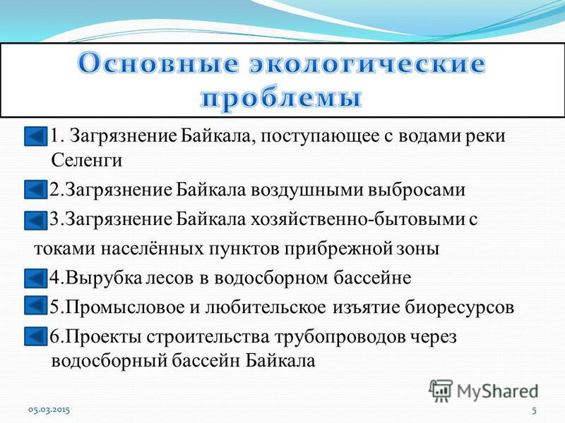 Байкал нуждается в особо бережном отношении. Нежелательно развитие на берегах Байкала и впадающих в него реках целлюлозно- бумажных и химических предприятий. Предприятия построены на берегу Байкала и впадающей в него реки Селенга. Сплав древесины по