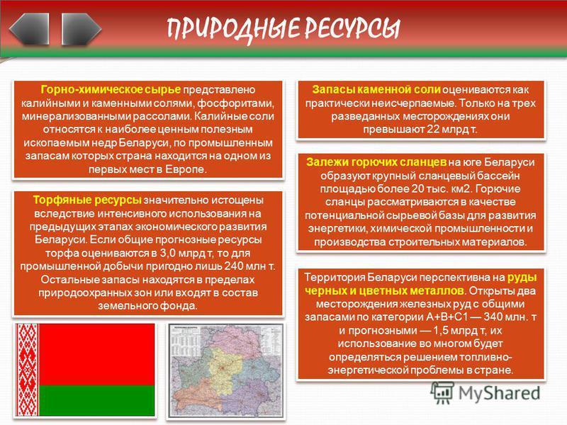 ПРИРОДНЫЕ РЕСУРСЫ Горно-химическое сырье представлено калийными и каменными солями, фосфоритами, минерализованными рассолами. Калийные соли относятся к наиболее ценным полезным ископаемым недр Беларуси, по промышленным запасам которых страна находитс