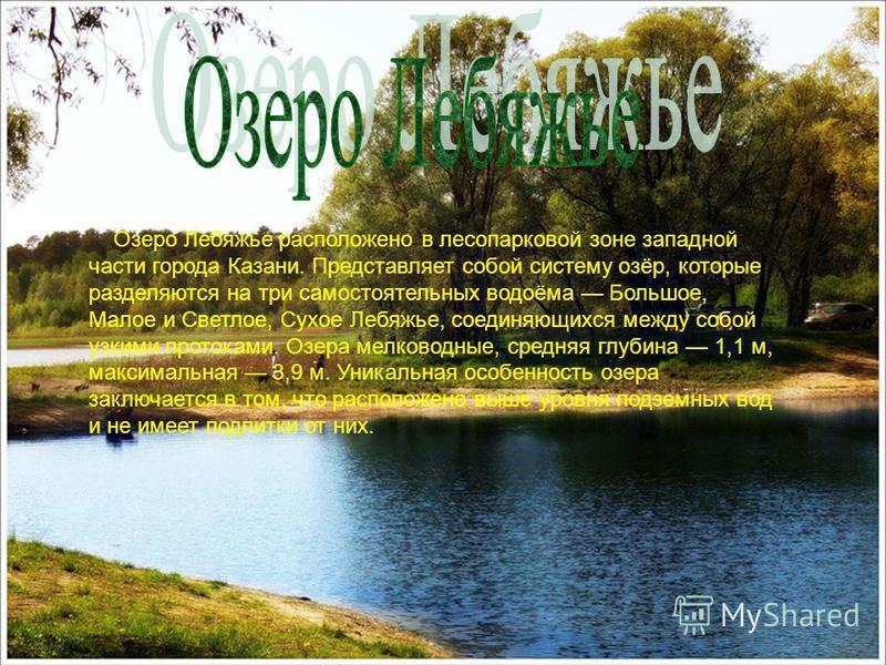 Озеро Лебяжье расположено в лесопарковой зоне западной части города Казани. Представляет собой систему озёр, которые разделяются на три самостоятельных водоёма Большое, Малое и Светлое, Сухое Лебяжье, соединяющихся между собой узкими протоками. Озера