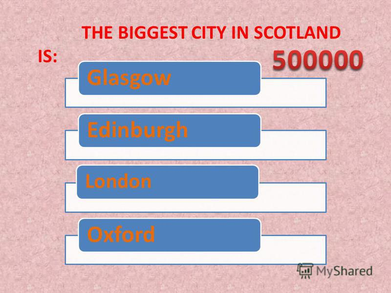 THE BIGGEST CITY IN SCOTLAND IS: GlasgowEdinburgh London Oxford