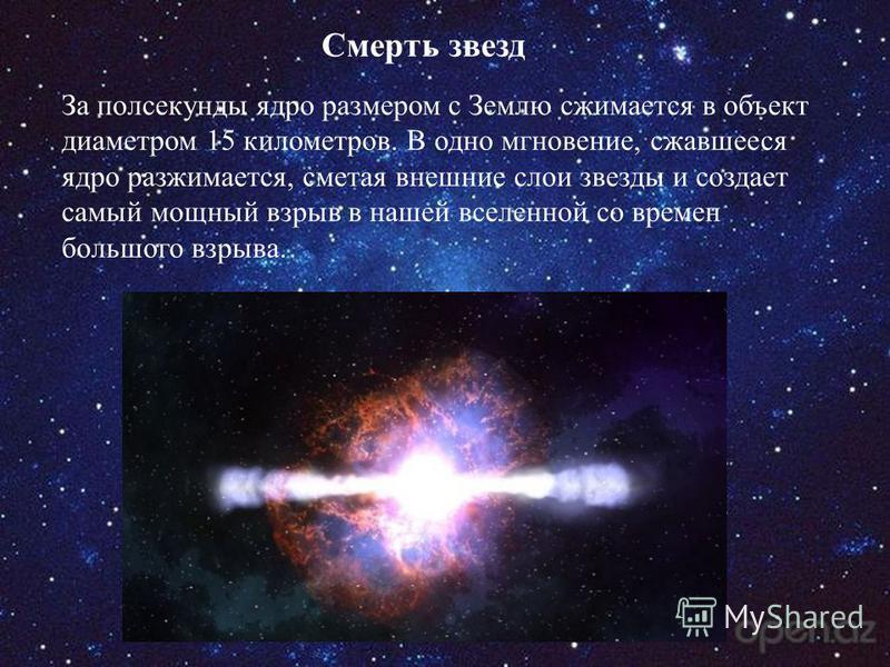 Смерть звезд За полсекунды ядро размером с Землю сжимается в объект диаметром 15 километров. В одно мгновение, сжавшееся ядро разжимается, сметая внешние слои звезды и создает самый мощный взрыв в нашей вселенной со времен большого взрыва.