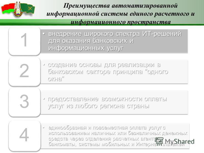 внедрение широкого спектра ИТ-решений для оказания банковских и информационных услуг внедрение широкого спектра ИТ-решений для оказания банковских и информационных услуг 1 создание основы для реализации в банковском секторе принципа
