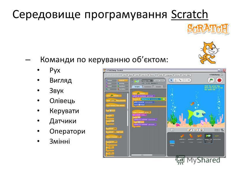 Середовище програмування Scratch – Команди по керуванню обєктом: Рух Вигляд Звук Олівець Керувати Датчики Оператори Змінні