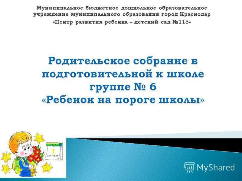 Муниципальное бюджетное дошкольное образовательное учреждение муниципального образования город Краснодар «Центр развития ребенка – детский сад 115»