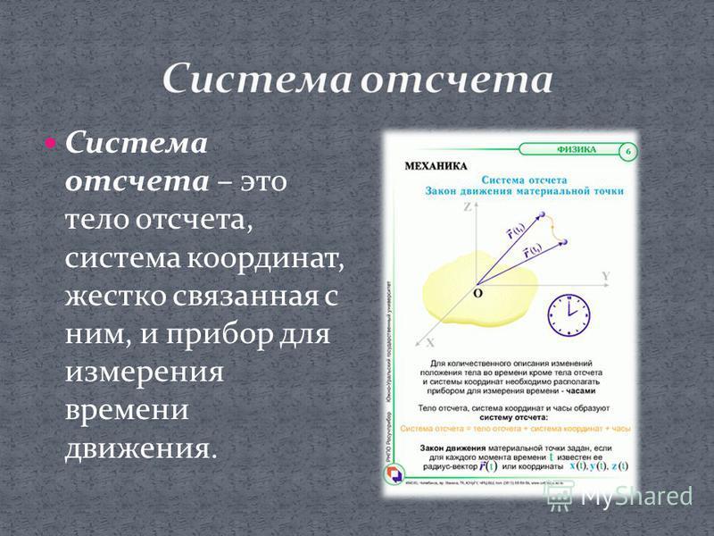 Система отсчета – это тело отсчета, система координат, жестко связанная с ним, и прибор для измерения времени движения.