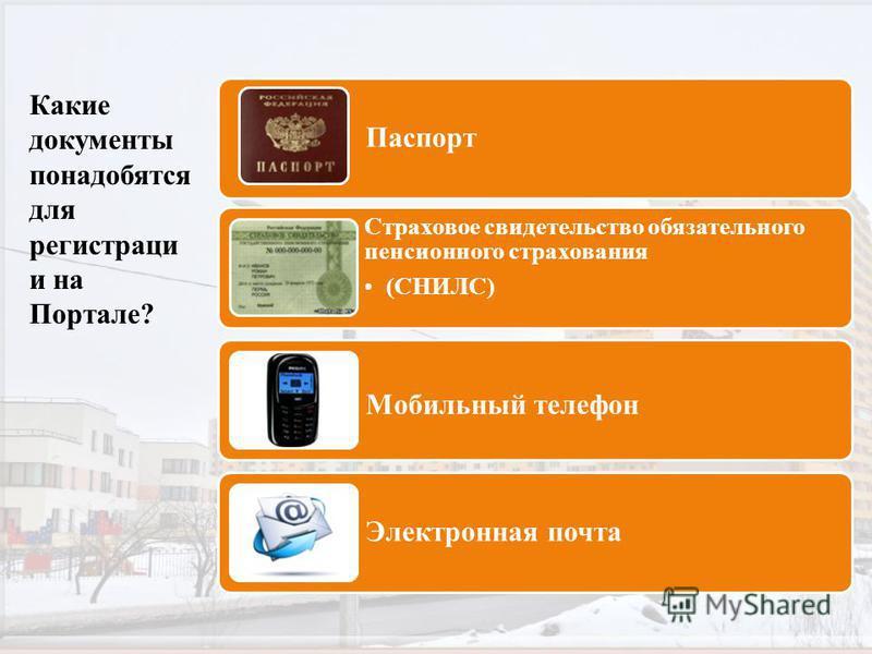 Какие документы понадобятся для регистрации и на Портале? Паспорт Страховое свидетельство обязательного пенсионного страхования (СНИЛС) Мобильный телефон Электронная почта