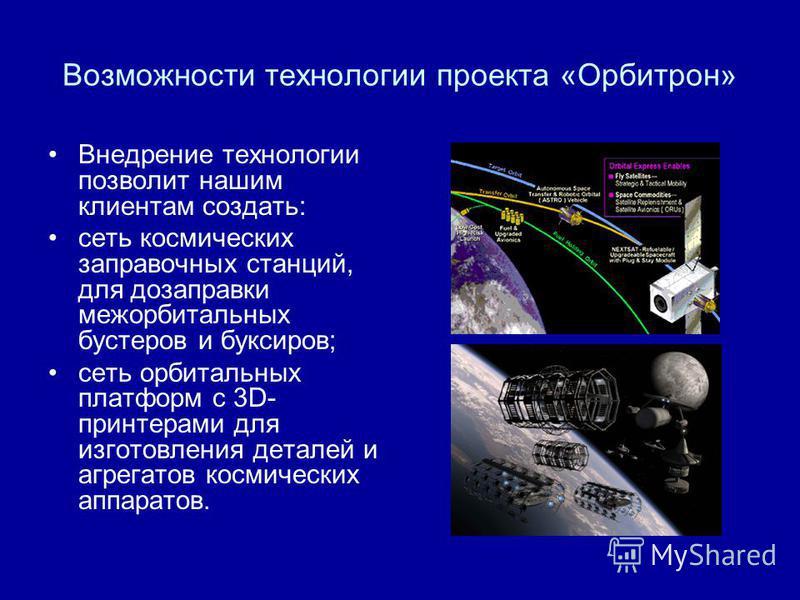 Возможности технологии проекта «Орбитрон» Внедрение технологии позволит нашим клиентам создать: сеть космических заправочных станций, для дозаправки межорбитальных бустеров и буксиров; сеть орбитальных платформ с 3D- принтерами для изготовления детал