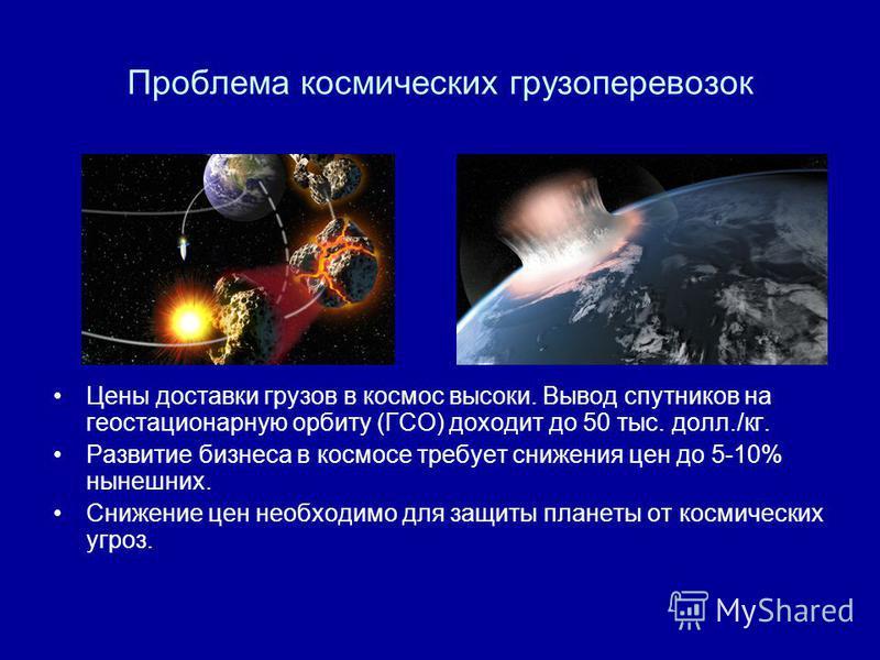 Проблема космических грузоперевозок Цены доставки грузов в космос высоки. Вывод спутников на геостационарную орбиту (ГСО) доходит до 50 тыс. долл./кг. Развитие бизнеса в космосе требует снижения цен до 5-10% нынешних. Снижение цен необходимо для защи