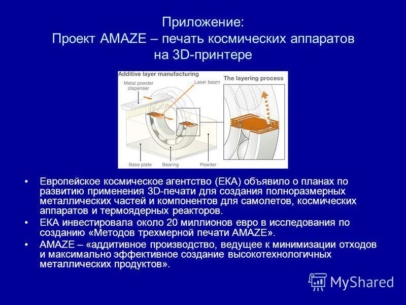 Приложение: Проект AMAZE – печать космических аппаратов на 3D-принтере Европейское космическое агентство (ЕКА) объявило о планах по развитию применения 3D-печати для создания полноразмерных металлических частей и компонентов для самолетов, космически