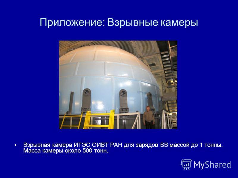 Приложение: Взрывные камеры Взрывная камера ИТЭС ОИВТ РАН для зарядов ВВ массой до 1 тонны. Масса камеры около 500 тонн.