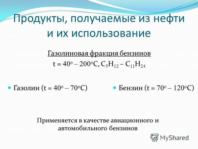 Продукты, получаемые из нефти и их использование Газолиновая фракция бензинов t = 40 o – 200 o C, C 5 H 12 – C 11 H 24 Бензин (t = 70 o – 120 o C) Применяется в качестве авиационного и автомобильного бензинов Газолин (t = 40 o – 70 o C)