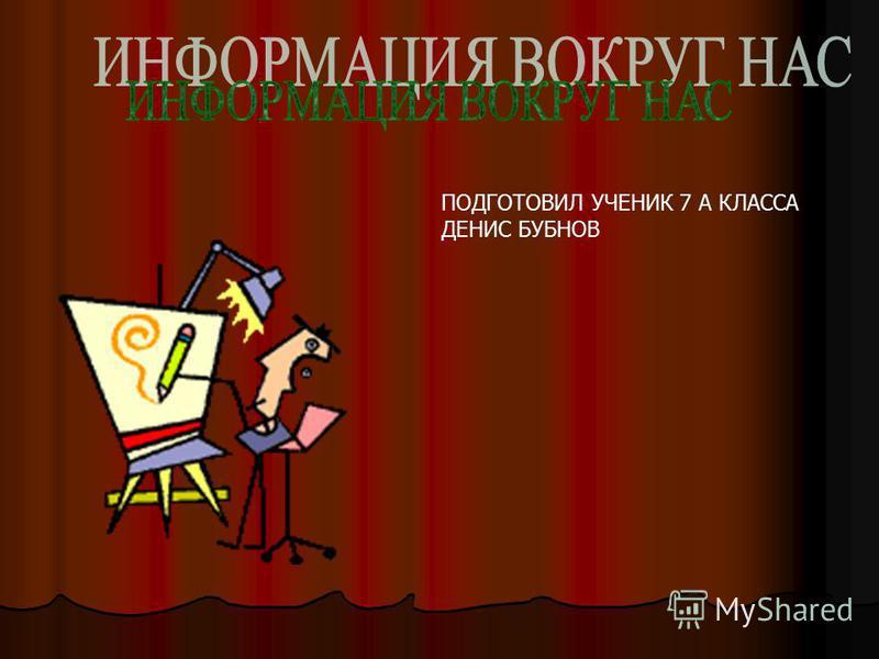 ПОДГОТОВИЛ УЧЕНИК 7 А КЛАССА ДЕНИС БУБНОВ