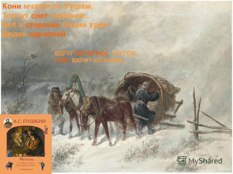 Кони мчатся по буграм, Топчут снег глубокий... Вот в сторонке божий храм Виден одинокий ВДРУГ МЕТЕЛИЦА КРУГОМ: СНЕГ ВАЛИТ КЛОКАМИ...