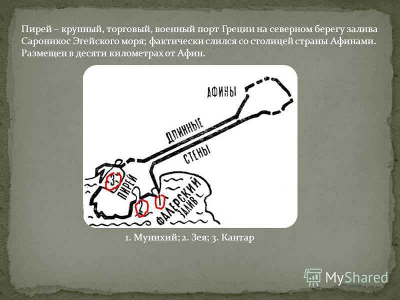Стены были разрушены во время Пелопоннесской войны. Позднее фортификационные сооружения были завершены Периклом в 4 в. до н. э., который соорудил так называемые Длинные стены, защищавшие с обеих сторон дорогу из Афин в Пирей на всем ее протяжении. Эт