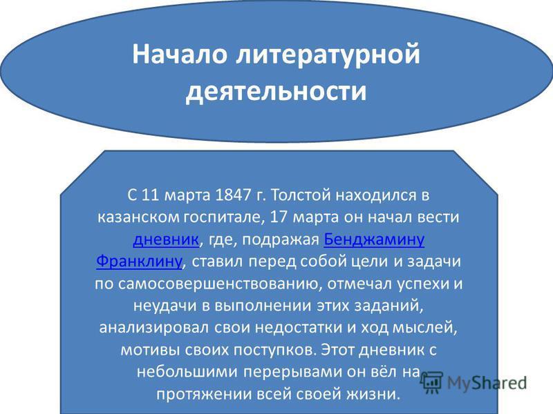 Начало литературной деятельности С 11 марта 1847 г. Толстой находился в казанском госпитале, 17 марта он начал вести дневник, где, подражая Бенджамину Франклину, ставил перед собой цели и задачи по самосовершенствованию, отмечал успехи и неудачи в вы