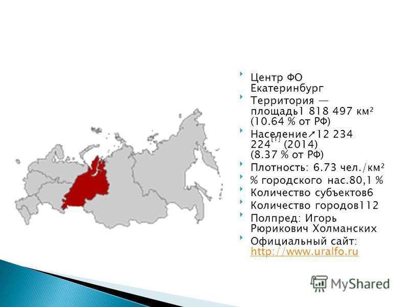 Центр ФО Екатеринбург Территория площадь 1 818 497 км² (10.64 % от РФ) Население 12 234 224 [1] (2014) (8.37 % от РФ) Плотность: 6.73 чел./км² % городского нас.80,1 % Количество субъектов 6 Количество городов 112 Полпред: Игорь Рюрикович Холманских О