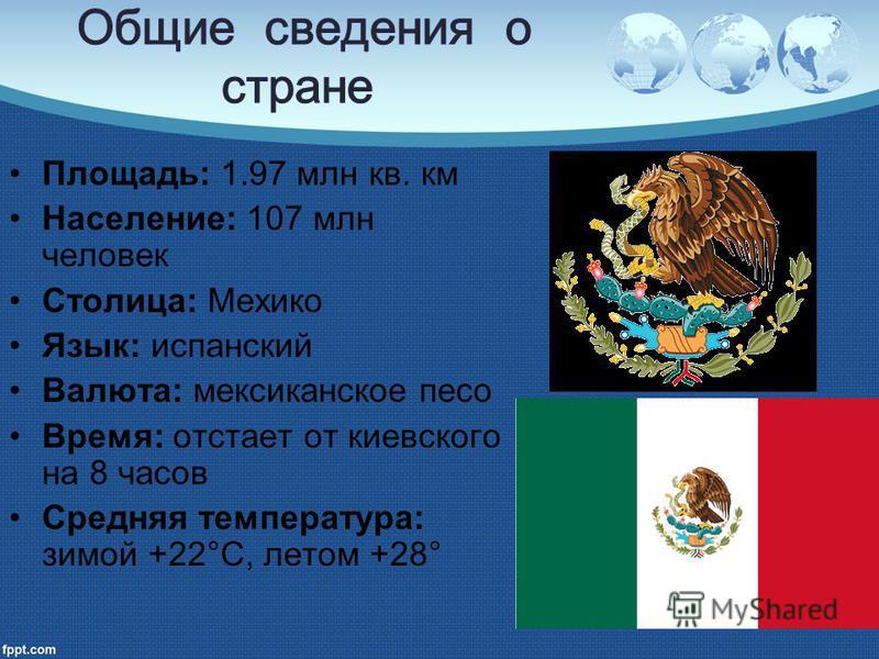 Площадь: 1.97 млн кв. км Население: 107 млн человек Столица: Мехико Язык: испанский Валюта: мексиканское песо Время: отстает от киевского на 8 часов Средняя температура: зимой +22°С, летом +28°