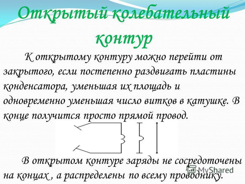 Открытый колебательный контур К открытому контуру можно перейти от закрытого, если постепенно раздвигать пластины конденсатора, уменьшая их площадь и одновременно уменьшая число витков в катушке. В конце получится просто прямой провод. В открытом кон