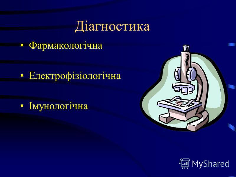 Діагностика Фармакологічна Електрофізіологічна Імунологічна