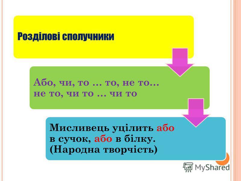 Розділові сполучники Або, чи, то … то, не то… не то, чи то … чи то Мисливець уцілить або в сучок, або в білку. (Народна творчість)