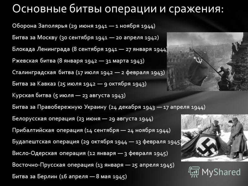 Оборона Заполярья (29 июня 1941 1 ноября 1944) Битва за Москву (30 сентября 1941 20 апреля 1942) Блокада Ленинграда (8 сентября 1941 27 января 1944) Ржевская битва (8 января 1942 31 марта 1943) Сталинградская битва (17 июля 1942 2 февраля 1943) Битва