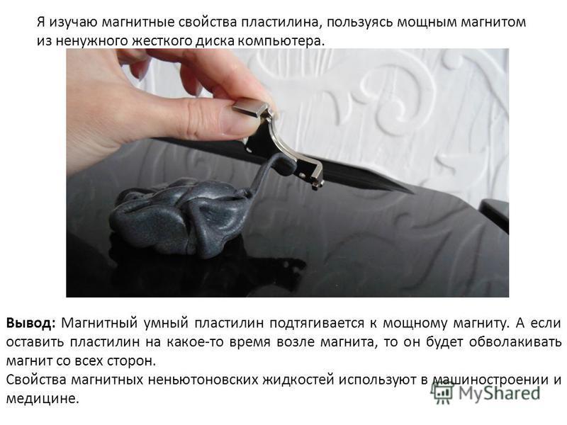 Я изучаю магнитные свойства пластилина, пользуясь мощным магнитом из ненужного жесткого диска компьютера. Вывод: Магнитный умный пластилин подтягивается к мощному магниту. А если оставить пластилин на какое-то время возле магнита, то он будет обволак
