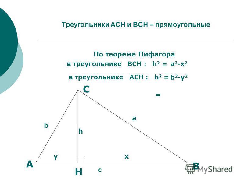 Треугольники АCН и ВСН – прямоугольные По теореме Пифагора в треугольнике ВСН : h 2 = в треугольнике АСН : h 2 = a 2 -х 2 b 2 -у 2 = А b Н B C у a h х c