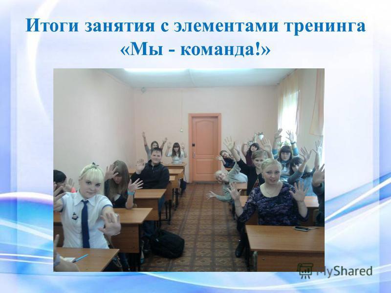 Итоги занятия с элементами тренинга «Мы - команда!»