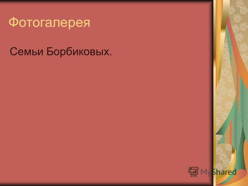 Фотогалерея Семьи Борбиковых.
