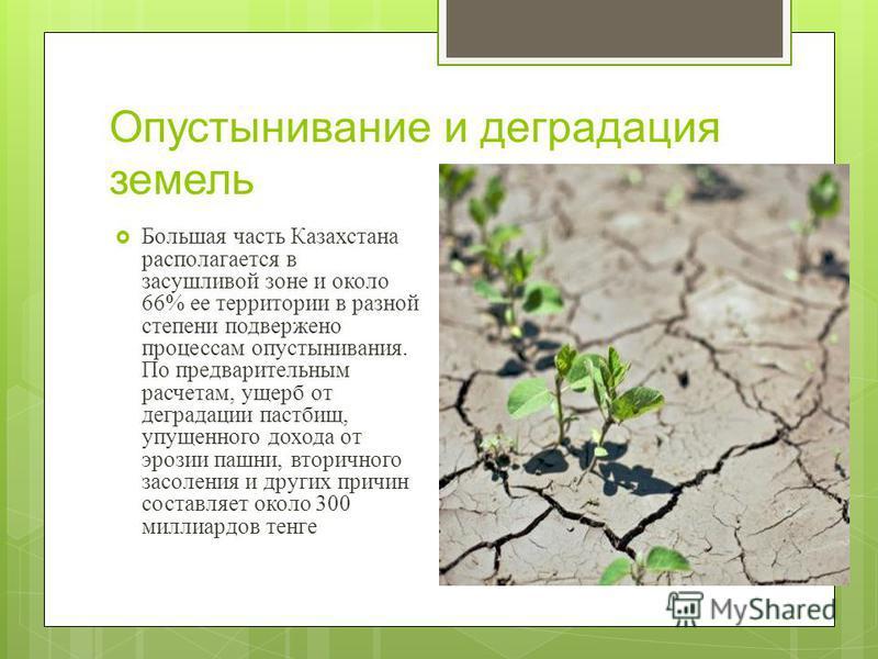 Опустынивание и деградация земель Большая часть Казахстана располагается в засушливой зоне и около 66% ее территории в разной степени подвержено процессам опустынивания. По предварительным расчетам, ущерб от деградации пастбищ, упущенного дохода от э