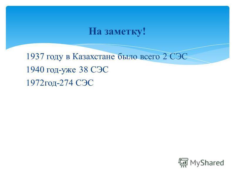 На заметку! 1937 году в Казахстане было всего 2 СЭС 1940 год-уже 38 СЭС 1972 год-274 СЭС