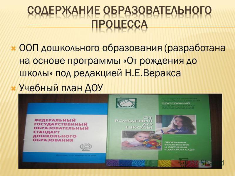 ООП дошкольного образования (разработана на основе программы «От рождения до школы» под редакцией Н.Е.Веракса Учебный план ДОУ